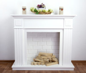 38269948 - fireplace with beautiful decorations in comfortable living room